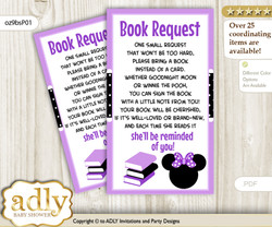 Request a Book Instead of a Card for Minnie Mouse Baby Shower or Birthday, Printable Book DIY Tickets, Bow, Purple