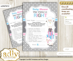 Printable Twins Lamb Price is Right Game Card for Baby Lamb Shower, Pink Blue, Polka