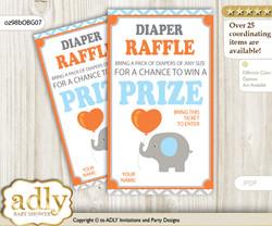 Boy Elephant Diaper Raffle Printable Tickets for Baby Shower, Grey Orange, Blue