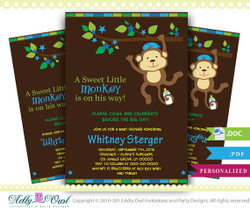 Boy Monkey Baby Shower Invitation card, Cute little monkey boy is on the way card for boy baby shower,blue stars- Instant Download