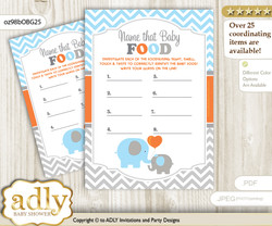 Boy Elephant Guess Baby Food Game or Name That Baby Food Game for a Baby Shower, Grey Orange Blue
