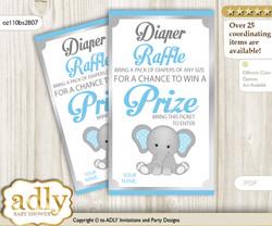 Boy Elephant Diaper Raffle Printable Tickets for Baby Shower, Grey Blue, Polka
