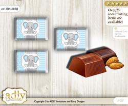 Boy Elephant Chocolate Nuggets Candy Wrapper Label for Baby Boy Shower  Grey Blue , Polka