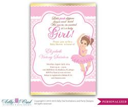 Girl Ballerina Invitation, Girl Baby Card for a baby shower.Girl ballet,crown,princess gold pink printable invitation