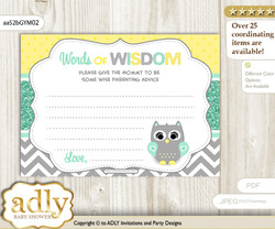 Mint Yellow Neutral  Owl Words of Wisdom or an Advice Printable Card for Baby Shower, Chevron