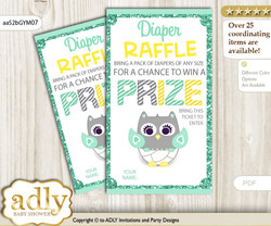 Neutral  Owl Diaper Raffle Printable Tickets for Baby Shower, Mint Yellow, Chevron