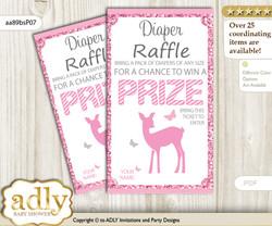 Girl Deer Diaper Raffle Printable Tickets for Baby Shower, Pink, Glitter