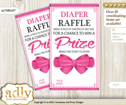 Girl Bow Diaper Raffle Printable Tickets for Baby Shower, Pink, Baby