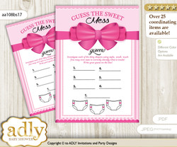 Girl Bow Dirty Diaper Game or Guess Sweet Mess Game for a Baby Shower Pink, Baby