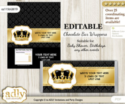 Personalizable Royal King Chocolate Bar Candy Wrapper Label for Royal  baby shower, birthday Gold Black , editable wrappers