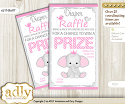 Girl Elephant Diaper Raffle Printable Tickets for Baby Shower, Silver Pink, Polka