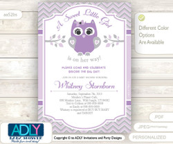 Purple Grey Owl Baby Shower Invitation for a Special Little Girl