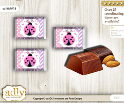 Purple Ladybug Chocolate Nuggets Candy Wrapper Label for Baby Purple Shower  Pink Polka , Glitter
