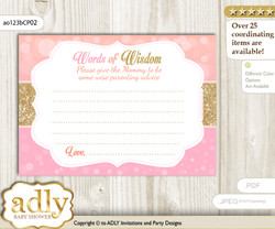 Pink Gold Coral Girl Words of Wisdom or an Advice Printable Card for Baby Shower, Glitter