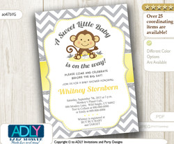 Yellow Grey Monkey Shower Invitation for Unisex, Neutral Baby Shower