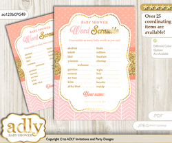 Baby Girl Word Scramble Game for Baby Shower