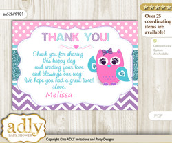 Girl Owl Thank you Printable Card with Name Personalization for Baby Shower or Birthday Party n