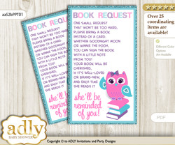 Request a Book Instead of a Card for Girl Owl Baby Shower or Birthday, Printable Book DIY Tickets, Purple, Pink Teal