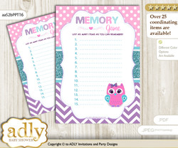 Girl Owl Memory Game Card for Baby Shower, Printable Guess Card, Pink Teal, Purple