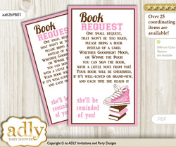 Request a Book Instead of a Card for Girl Sneakers Baby Shower or Birthday, Printable Book DIY Tickets, STar, Pink Brown
