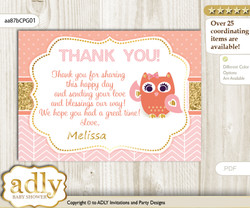 Girl Owl Thank you Printable Card with Name Personalization for Baby Shower or Birthday Party nn