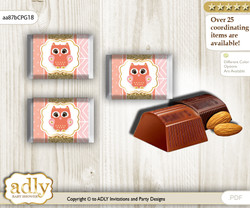 Girl Owl Chocolate Nuggets Candy Wrapper Label for Baby Girl Shower  Coral Pink , Gold