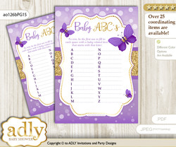 Girl Butterfly Baby ABC's Game, guess Animals Printable Card for Baby Butterfly Shower DIY – Kisses