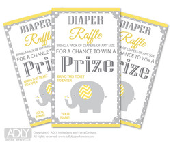 Neutral Elephant Diaper Raffle Printable Tickets for Baby Shower,  Yellow Grey,  Chevron