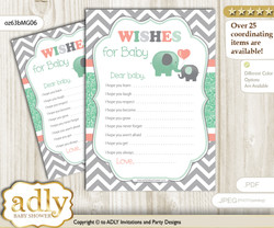 Unisex Elephant Wishes for a Baby, Well Wishes for a Little Elephant Printable Card, Chevron, Peach Mint
