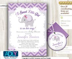 Grey Purple Elephant Invitation Baby Shower, Printable DIY for girl, chevron, lilac, gray, elephant thank you tag,free favor tag-ao46bsp3