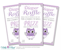 Purple Owl Diaper Raffle Printable Tickets for Baby Shower, Grey, Chevron