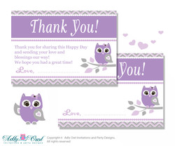 Purple Owl Thank you Cards for a Baby Purple Shower or Birthday DIY Grey, Chevron