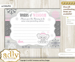 Pink Grey Girl Elephant Words of Wisdom or an Advice Printable Card for Baby Shower, Winter