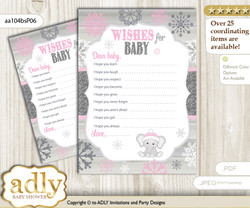 Girl Elephant Wishes for a Baby, Well Wishes for a Little Elephant Printable Card, Winter, Pink Grey