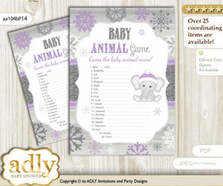 Printable Girl Elephant Baby Animal Game, Guess Names of Baby Animals Printable for Baby Elephant Shower, Purple Grey, Winter