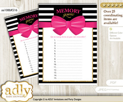 Girl Bow Memory Game Card for Baby Shower, Printable Guess Card, Pink Gold, Stripes