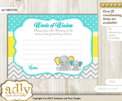 Mint Yellow Boy Elephant Words of Wisdom or an Advice Printable Card for Baby Shower, Grey