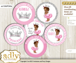 Baby Shower African Princess Cupcake Toppers Printable File for Little African and Mommy-to-be, favor tags, circle toppers, Royal, Pink Silver