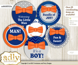 Baby Shower Boy Bow Tie Cupcake Toppers Printable File for Little Boy and Mommy-to-be, favor tags, circle toppers, Grey, Orange Blue