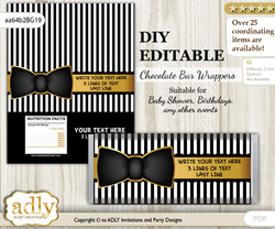 DIY Personalizable Boy Bow Tie Chocolate Bar Candy Wrapper Label for Boy  baby shower, birthday Black Gold , editable wrappers nm