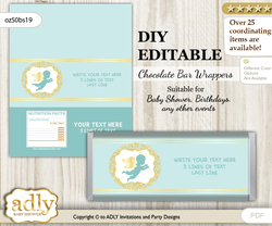 DIY Personalizable Boy Angel Chocolate Bar Candy Wrapper Label for Boy  baby shower, birthday Mint Gold , editable wrappers v