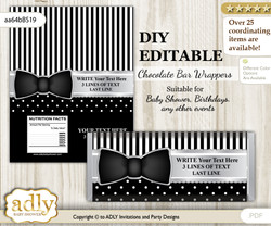 DIY Personalizable Boy Bow Tie Chocolate Bar Candy Wrapper Label for Boy  baby shower, birthday Black Silver , editable wrappers m