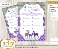 Girl Deer Guess Baby Food Game or Name That Baby Food Game for a Baby Shower, Purple Mint Forest