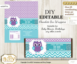 DIY Personalizable Purple Teal Girl Owl  Chocolate Bar Candy Wrapper