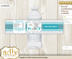 Peanut Unisex Water Bottle Wrappers, Labels for a Unisex  Baby Shower, Teal Gray, Chevron