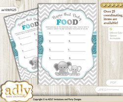 Peanut Unisex Guess Baby Food Game or Name That Baby Food Game for a Baby Shower, Teal Gray Chevron