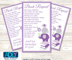 Request a Book Instead of a Card for  Girl Elephant Baby Shower or Birthday, Printable Book DIY Tickets,  Chevron, Purple Grey