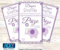 Girl Elephant Diaper Raffle Printable Tickets for Baby Shower,  Purple Grey,  Chevron
