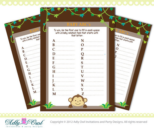 ABC's Game Boy Monkey Baby Shower Game Printable for a Boy Baby Shower Party - brown, green DIY- ONLY digital file - you print SKU41