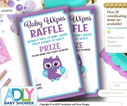 Purple Girl Owl Baby Wipes Raffle Ticket for Baby Shower